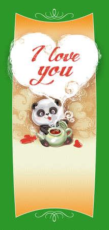 Teddy Bear Panda félicite Joyeuse Saint-Valentin. Fantastique Style Cartoon. Banque d'images - 51560490