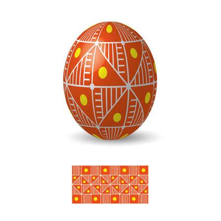 Oeuf de Pâques avec ukrainiens ornements de motifs folkloriques. Banque d'images - 52520956
