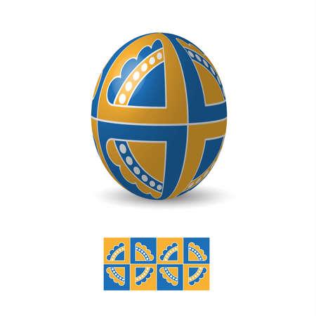 Oeuf de Pâques avec ukrainiens ornements de motifs folkloriques. Banque d'images - 52521114