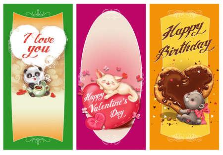 Cartes pour les fêtes de jour et l'anniversaire de la Saint-Valentin Banque d'images - 52524225