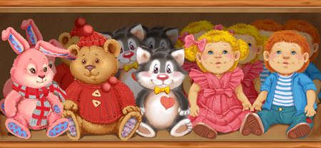 Illustration wooden shelf with childrens toys in the store