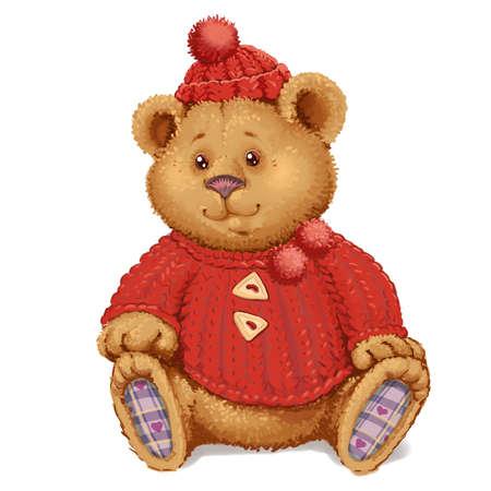Ours en peluche en peluche dans un chandail rouge et un chapeau Banque d'images - 52524226