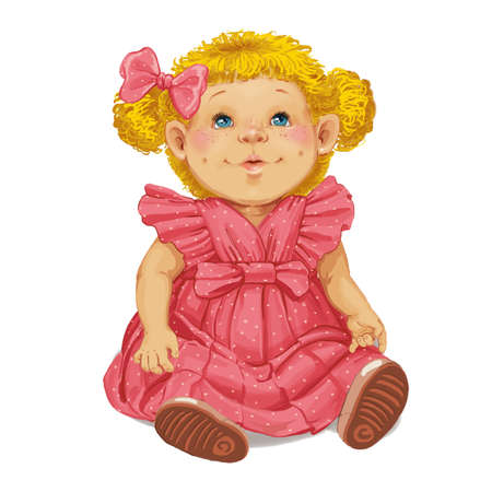 hair bow: Toy doll with a red bow in her hair
