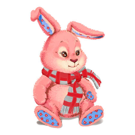 plush: Toy plush pink bunny wearing a scarf. Stock Photo