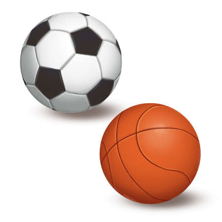 Ball for football and basketball on a white background. Raster illustration