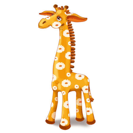 Toy giraffe with spots in the flower. Raster illustration