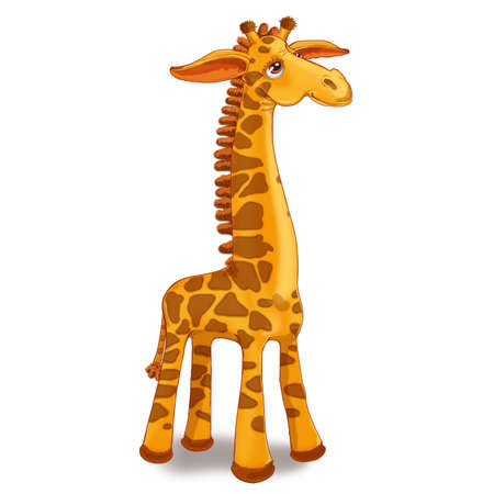 Toy giraffe sur un fond blanc. Raster illustration Banque d'images - 54978951