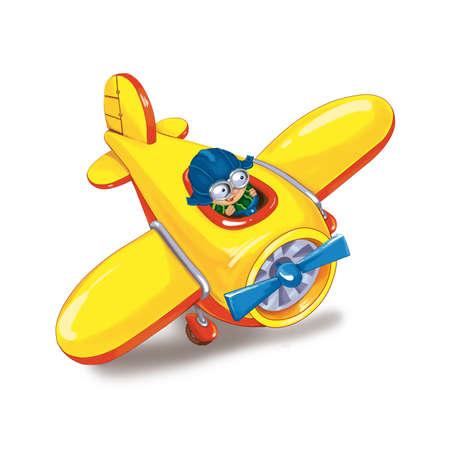 Petit garçon voyage en avion. Une carte d'accueil ou d'invitation à l'anniversaire ou à des vacances. Raster illustration Banque d'images - 54978959