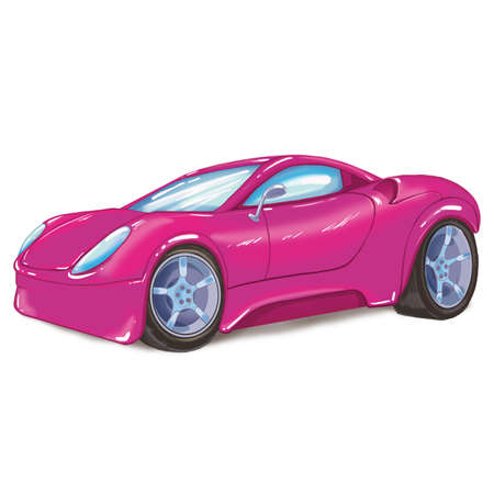 Drawing of a pink modern sport car, isolated on white background.Raster illustration