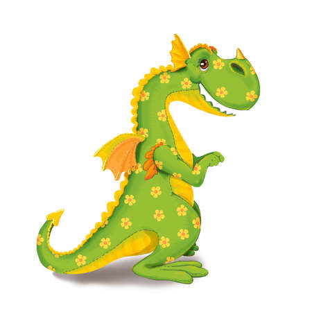background picture: Toy dinosaur in a flower on a white background. Raster illustration