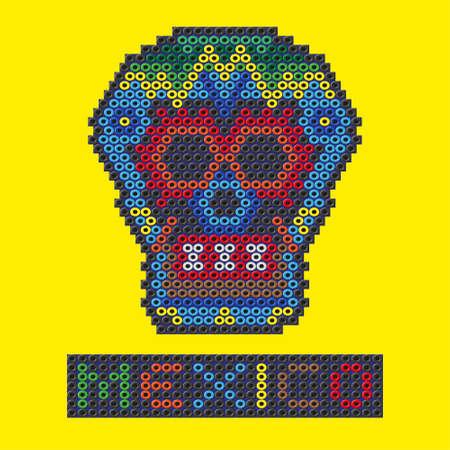 Crâne mexicain fait de perles en plastique. Vector illustration Banque d'images - 54978963