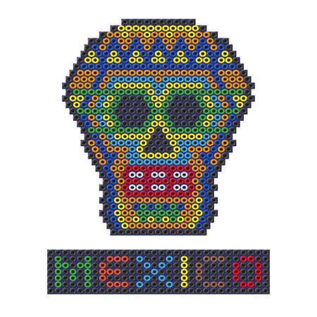 Mexican skull made out of plastic beads. Vector illustration on a white background