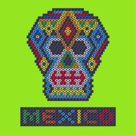 Crâne mexicain fait de perles en plastique. Vector illustration Banque d'images - 54979039