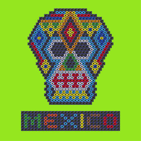 beads: Mexican skull made out of plastic beads. Vector illustration