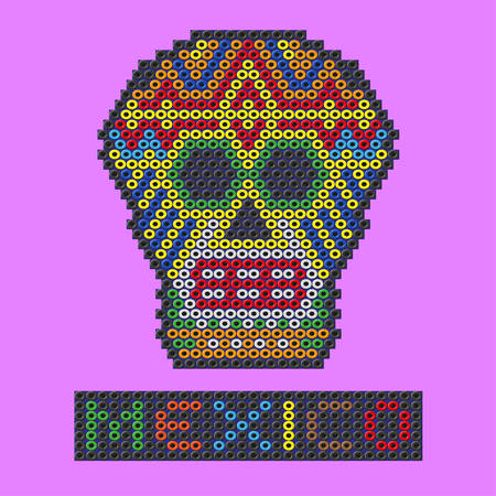 Mexican skull made out of plastic beads. Vector illustration on a purple background