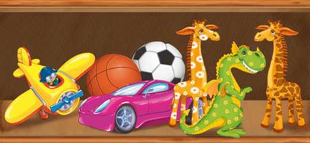 Illustration étagère en bois avec des jouets pour enfants dans le magasin. Set 2 Banque d'images - 54979045