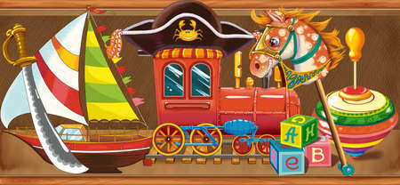 Illustration wooden shelf with childrens toys in the store. Set 3