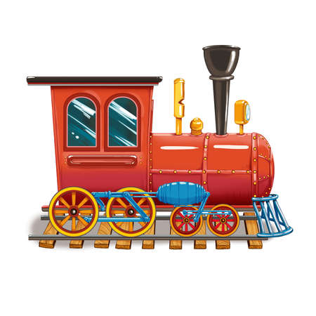 Steam locomotive on the tracks of a set of childrens toys. Raster illustration