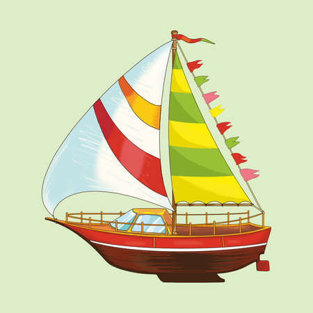Sailing yacht of a set of childrens toys. Raster illustration