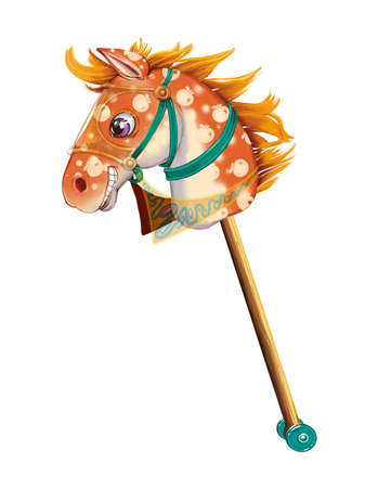 stick out: Stick horse toy, cut out on white background. Stock Photo