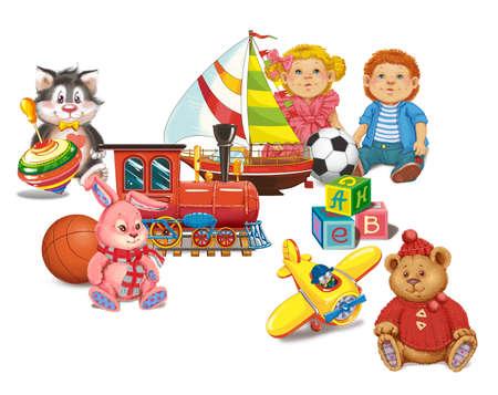 Set jouets pour la chambre d'un enfant. Raster illustration Banque d'images - 54979080