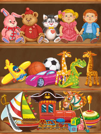 the hovercraft: Shelfs with toys. Raster illustration Stock Photo