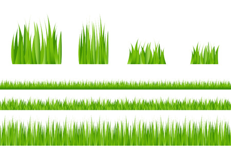 weeding: 3 backgrounds of green grass and 4 tufts of grass