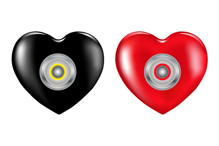 Safety Hearts With Combination Lock, Isolated on White Vector