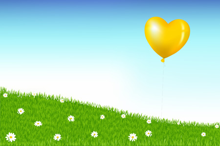 Heart Shape Balloon Like As Sun Above Grass Hill With White Daisies Vector