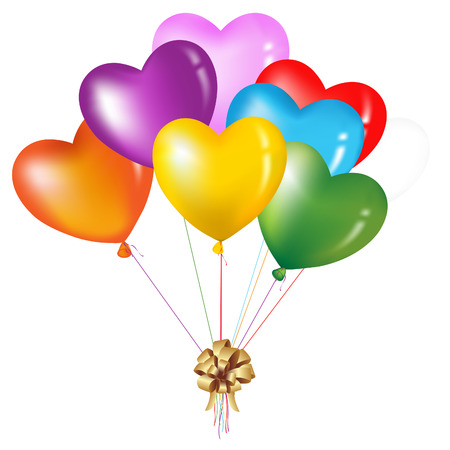 плавающий: Bunch Of Colorful Heart Shape Balloons, Isolated On White Иллюстрация