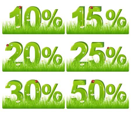 promo: Impostare di verde sconto figure in erba per il design, isolata su bianco
