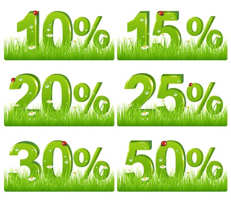 promotion icon: Set Of Green Discount Figures In Grass For Your Design, Isolated on white
