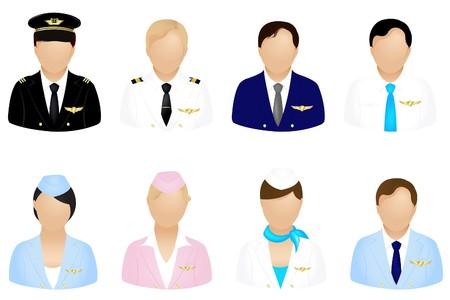 piloto: Conjunto de conjunto de iconos de Aircraft Crew, aislado en blanco