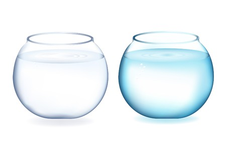 aquaria: Two fishbowls with water, Isolated On White