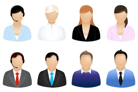 retort: Set Of Business People Icons, Isolated On White
