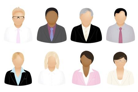 blonde hispanic: Set Of Business People Icons, Isolated On White