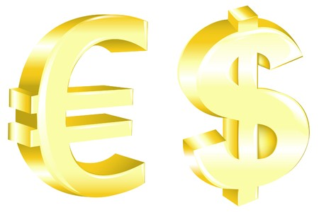 price gain: Dollar And Euro Signs, Isolated On White Stock Photo