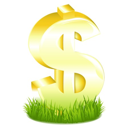 Golden Dollar Sign In Green Grass, Isolated On White photo
