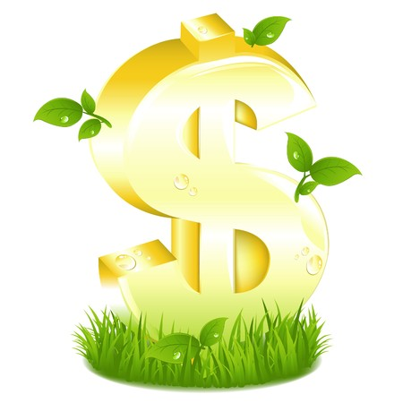 Golden Dollar Sign With Fresh Branches In Green Grass, Isolated On White photo