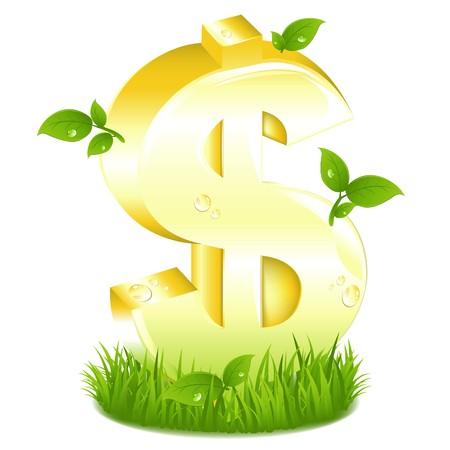 signo pesos: Signo de d�lar dorado con ramas frescas en el Verde c�sped, aislada en blanco