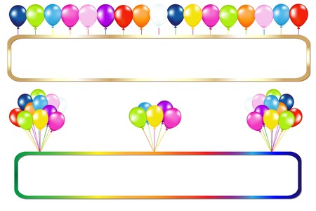party balloon: Golden And Colorful Frame With Balloons Bunches, Isolated On White Illustration