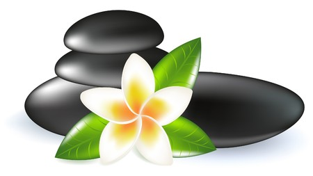 frangipani: Fragipani With Leaves And Spa Stones, Isolated On White