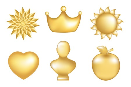 Set Of  Golden Icons, Isolated On White photo