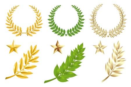 laureles: Conjunto de Wreathes, estrellas y ramas de laurel, aislados en blanco