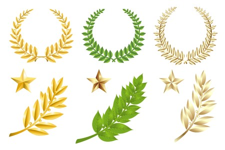 Set Of Wreathes, Stars And Laurel Branches, Isolated On White Stock Photo - 7097354