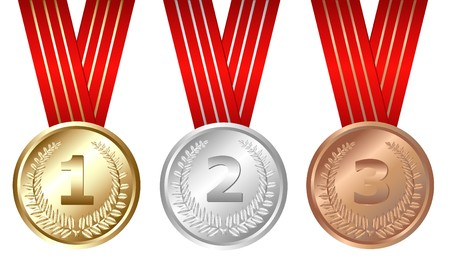 Golden, Silver, Bronze Medals, Isolated On White Stock Photo