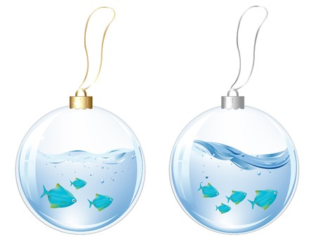 New Year Glasses Balls With Blue Fishes In Water Inside, Isolated On white photo