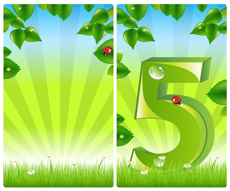 2 sale banners with leaves, rays and grass Stock Photo - 7097384