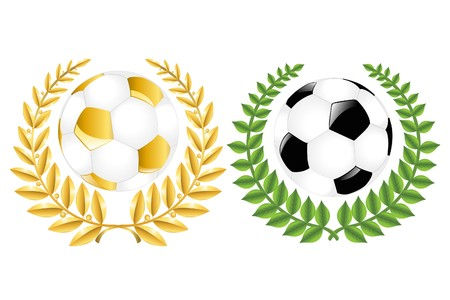 Two Soccer Balls (Classic and Golden) With Wreathes, Isolated On White photo
