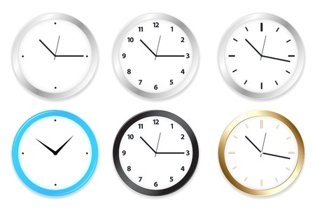 Set of six clocks on Wall, Isolated on White Stock Photo - 7097216
